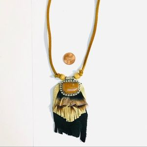 VINTAGE Leather/ Stone/ Feather Statement Necklace